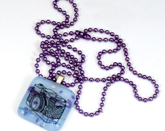Fused Glass Camera Pendant with Chain - Free Shipping!