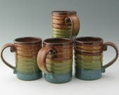 Pottery 16 oz Spiral Beer Mug Ready to Ship in Honey and Jewel Blue