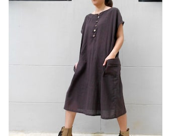 Custom Made Chocolate Brown Cotton  Boho Short Loose Tunic Dress S-L (H)