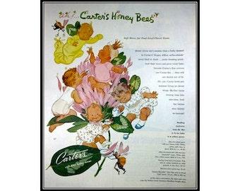 1950s Vintage Advertising Honey Bees Carter's Baby Clothes Nursery Wall Art Decor E105