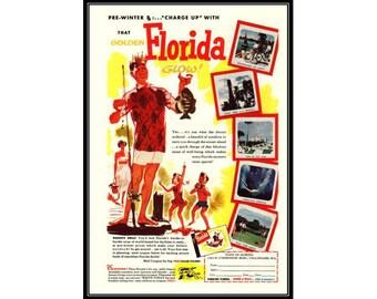 Florida, Vacation, Glow, Fishing, Advertising Art, Travel Decor, Vintage Advertising, Ads, FREE SHIPPING US Standard