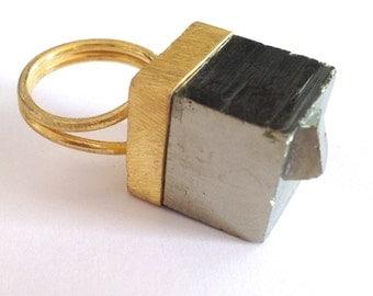 SALE Dara Ettinger ALEXA adjustable brushed gold and Natural Pyrite Square crystal ring