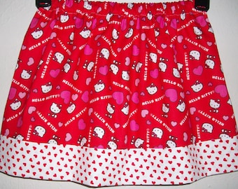 3t Girls Skirt with Cat White Kitty Cat Red and Pink Skirt with Hearts toddler skirt Birthday Party Skirt Girls Dress Valentines Day Skirt