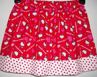 Kitty Skirt size 3t Girls Skirt with Cat White Kitty Cat Red and Pink Skirt with Hearts toddler skirt Ready to Ship Kitty Birthday