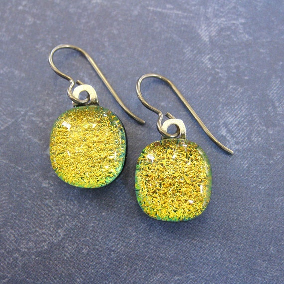 Niobium Earrings for Very Sensitive Ears Dangle Dichroic Gold