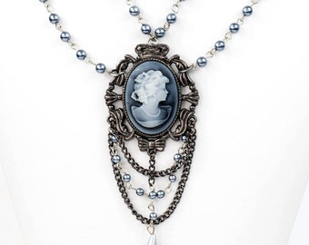 Steampunk Elaborate Gunmetal and Grey Pearl Filigree Multi-Chain Necklace with Blue Grey Cameo Setting by Velvet Mechanism