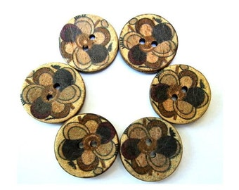 6 Buttons, coconut shell buttons flower ornament in earth colors suitable for button jewelry, 22mm