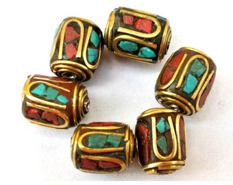 Nepal 6 beads brass with coral and turquoise 12mmx10mm