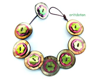 Button jewelry bracelet  made of flower shape and round shape buttons in assorted colors