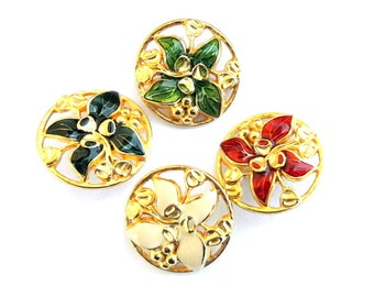 4 Vintage buttons flower shape enamel metal 26mm 4 colors, unique
