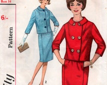 Vintage 1950s Single or Double Breasted Suit Sewing Pattern 34 inch bust