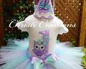 Owl Tutu Set - Baby Girl 1st Birthday Tutu Outfit - Cake Smash Photo Prop - Aqua and Lavender