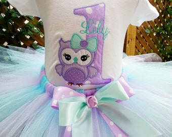 Owl - Baby Girl 1st Birthday Shirt and Tutu Set - Great for Party or Photo Prop - Lavender and Aqua