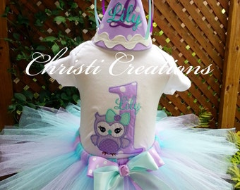 Owl First Birthday Outfit - Baby Girl 1st Birthday Outfit - Smash Cake Outfit Girl - Lavender and Aqua Tutu - Monogrammed Shirt
