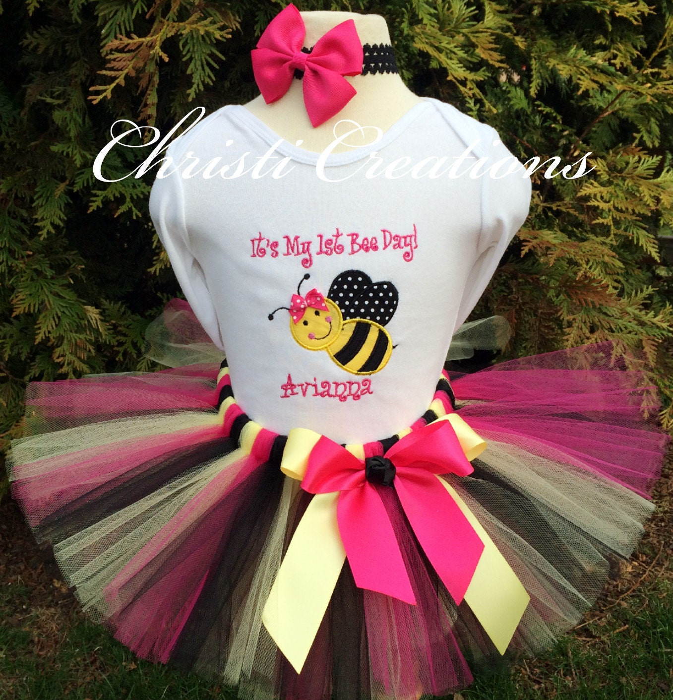 Birthday Party Outfit: Bumble Bee 1st Birthday Outfit Baby Girl First Birthdy Tutu