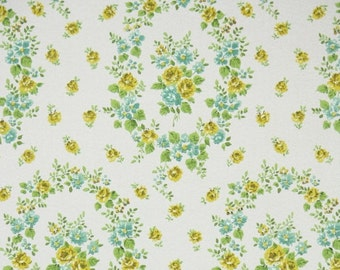 1950s Vintage Wallpaper by the Yard - Floral Wallpaper with Yellow and Blue Roses Flower Wreath on White