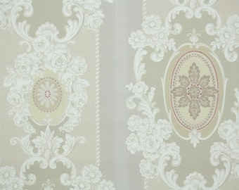 1940s Vintage Wallpaper by the Yard - Lovely Ivory Cream Yellow and Red Victoian Design