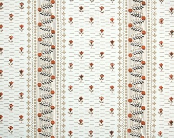 1950s Vintage Wallpaper by the Yard - Tiny Rust and Brown Flowers and Floral Stripe