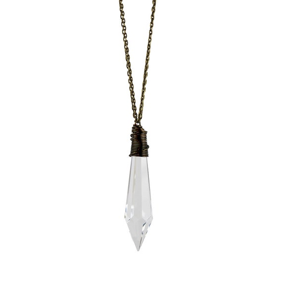 Greta Necklace Clear Antique Chandelier Crystal By