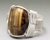 Golden Tigers Eye Cabochon Sterling Silver Wire Wrapped Ring - Made to Order and Ships Fast!
