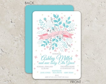 Floral Ribbon Baby Shower Invitations . Sip and See . Beautiful 2 sided design