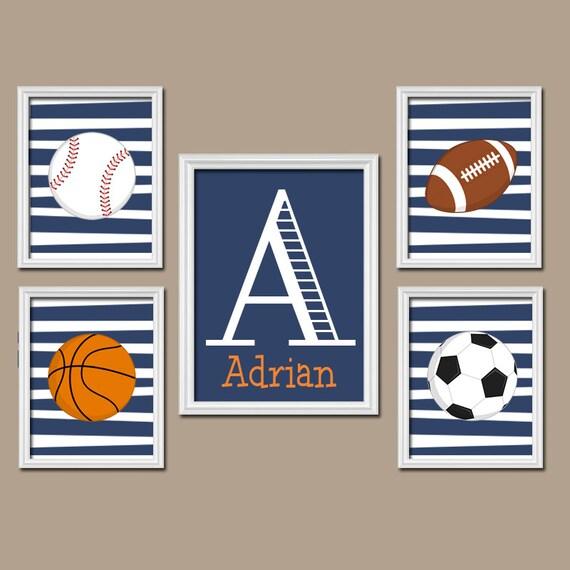 Basketball Sports Canvas Wall Art For Boys Bedroom Decor: SPORTS Boy Wall Art, CANVAS Or Prints Nursery Child Navy