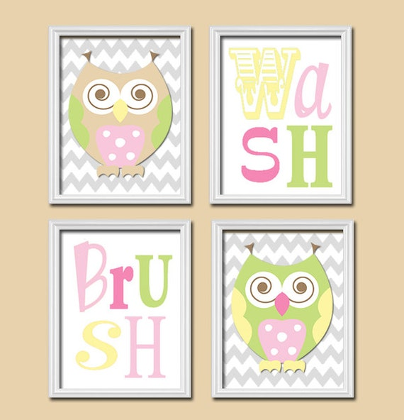 Whimsical Bathroom Wall Decor : Owl circo bathroom wall art canvas or prints funky by
