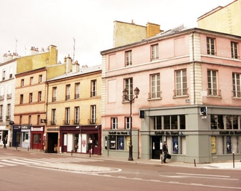 France travel photography / pastel pink / mustard yellow gray / windows / french street / architecture art / 'Pink and Mustard Town'