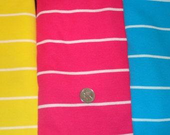 New striped cotton lycra rib  knit fabric 1 yard cuts