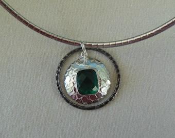 Emerald Topaz Silver Pendant on Omega Chain