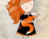 Fox print, fox illustration, fox wall art, forest animal