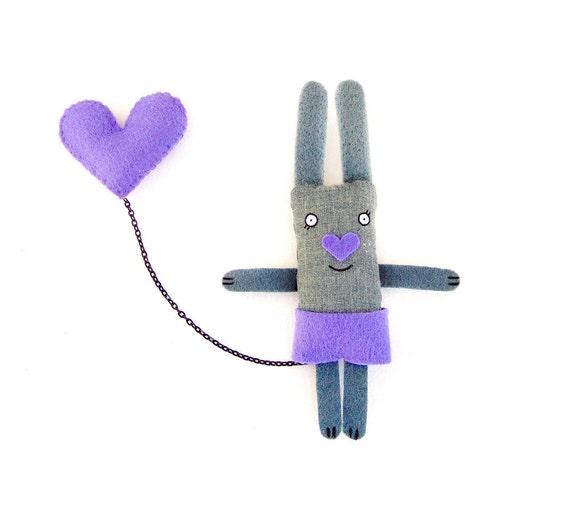 Funny Bunny Brooch, Purple, Cute Brooch, Animal Brooch