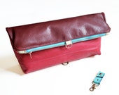 Foldover Clutch / Oversized Clutch / Leather Foldover Bag / Cosmetic Bag - The Lulu Travel Foldover Clutch in Burgundy and Hot Pink