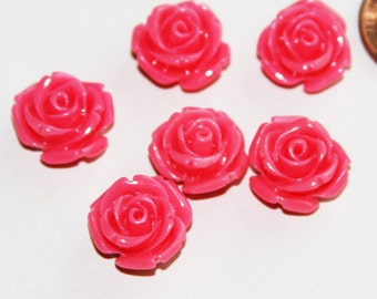 10 pcs of Synthetic Coral flower beads 14x13mm Rose Pink