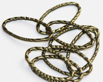 20 pcs of Antiqued brass hammered Oval  Links 30X17mm