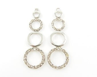 Long Silver Rhinestone Drop Circle Geometric Earring Finding Pendant Charm  S13-17 2