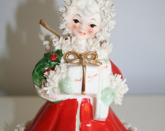 Vintage Red Christmas Spaghetti Angel Holding Gift Box