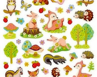 Forest Critters Glitter Sticker • Woodland Animals • Woodland Critters • Scrapbooking, Gift Wrap, Favors, Decorating, CardMaking (SK4538)