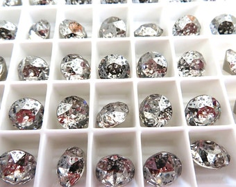 12 Silver Patina Foiled Swarovski Crystal Chaton Stone 1088 39ss 8mm