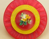Vintage Red and Yellow Rose Button Pin Brooch -One of a Kind