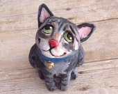 Sweet Kitty Cat Sculpture: Hand-sculpted and -painted