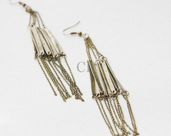 Antique Brass Bar and Chain Earrings (E20)