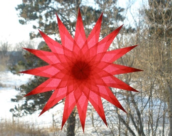 Ruby Red 16 Point Window Star with Sharp Points