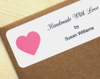 Heart Labels - Handmade With Love - Self-Adhesive Stickers - Choose Color and Text