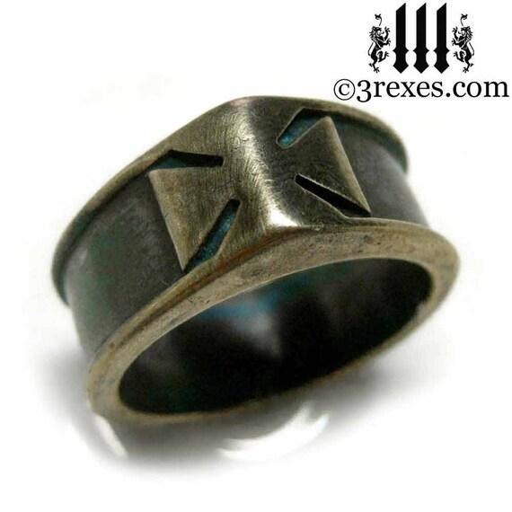 mens ring iron cross dark brass band knights templar size 11