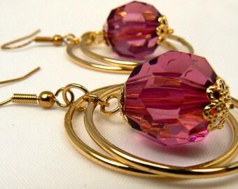 Gold Two Circle Dangle Earrings, Fuschia Drop Earrings, Gold Ring Fuschia Dangle Earrings. Lightweight Modern Circle Earrings (E5)