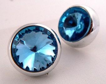 Vintage Rivoli Light Blue Rhinestone Post Earrings, Retro Hollywood Sparkle Earrings, Vintage Post Earrings, Blue Sparkle Earrings (E172)
