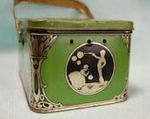 1920s Art Deco Child's Lunchbox Vintage Tin Litho Shabby Green