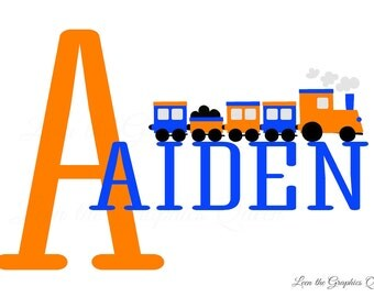 Train Wall Decal with Childs Name Railroad Train Monogram Wall Decal - Name Wall Decal - Name Decal - Customize Personalize Name Monogram