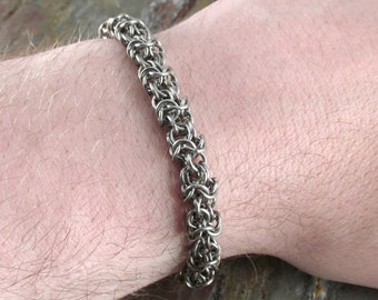 Chainmaille Turkish Roundmaille Bracelet, Stainless Steel